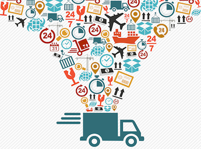 Shipping logistics delivery concept: speedy truck with icons splash illustration. Vector file in layers for easy editing.